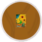 Sunflowers By The Lake Round Beach Towel