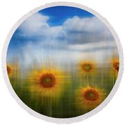 Sunflowers Dreamscape Round Beach Towel