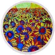 Sunflowers Field At Sunrise Round Beach Towel