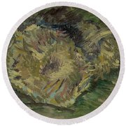 Sunflowers Gone To Seed Paris, August - September 1887 Vincent Van Gogh 1853  1890 Round Beach Towel
