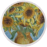 Sunflowers II. Round Beach Towel