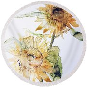 Sunflowers II Uncropped Round Beach Towel by Monique Faella