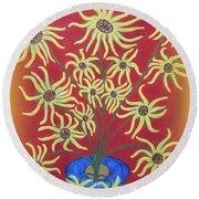Sunflowers In A Blue Vase Round Beach Towel