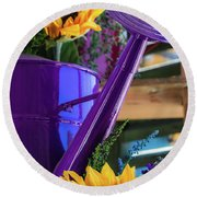 Complementary Sunflowers Round Beach Towel