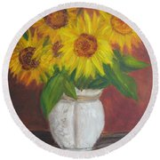 Sunflowers In A Clay Pot Round Beach Towel