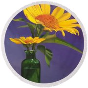 Sunflowers In A Green Bottle Round Beach Towel