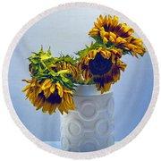 Sunflowers In Circle Vase Blue Tournesols Round Beach Towel