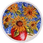 Sunflowers In Red Vase. Round Beach Towel
