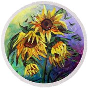 Sunflowers In The Rain Round Beach Towel