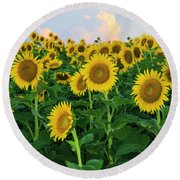 Sunflowers In The Sky Round Beach Towel
