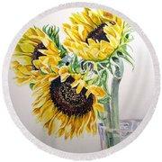 Sunflowers Round Beach Towel by Irina Sztukowski