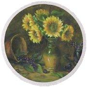 Sunflowers Round Beach Towel by Katalin Luczay