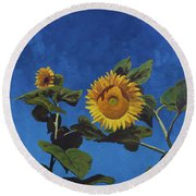 Sunflowers Round Beach Towel by Marco Busoni