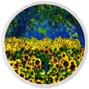 Sunflowers No2 Round Beach Towel