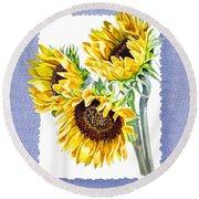 Sunflowers On Baby Blue Round Beach Towel