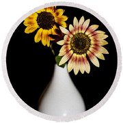 Sunflowers On Black Background And In White Vase Round Beach Towel