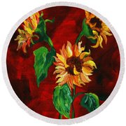 Sunflowers On Rojo Round Beach Towel
