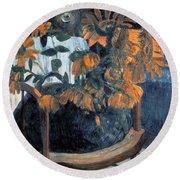 Sunflowers, 1901 By Paul Gauguin  Round Beach Towel