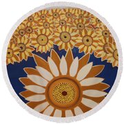 Sunflowers Rich In Blooming Round Beach Towel