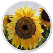 Sunflowers Squared Round Beach Towel