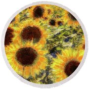 Sunflowers Summer Van Gogh Round Beach Towel
