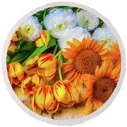 Sunflowers Tulips Round Beach Towel