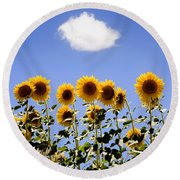 Sunflowers With A Cloud Round Beach Towel