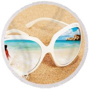 Sunglasses In The Sand Round Beach Towel