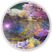 Sunglint On Autumn Lily Pond II Round Beach Towel