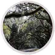 Sunlight And Shadows On Live Oaks Round Beach Towel