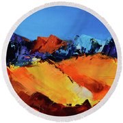 Sunlight In The Valley Round Beach Towel