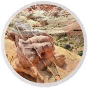 Sunlight On Colorful Boulder Above Wash 3 In Valley Of Fire Round Beach Towel