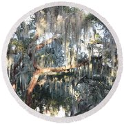 Sunlight On Mossy Tree Round Beach Towel