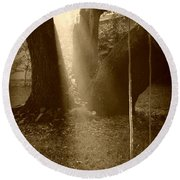 Sunlight On Swing - Sepia Round Beach Towel