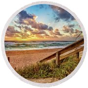 Sunlight On The Sand Round Beach Towel by Debra and Dave Vanderlaan