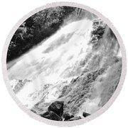 Sunlight Over The Falls Round Beach Towel