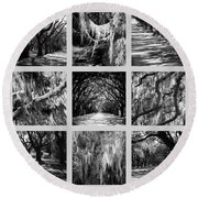 Sunlight Through Live Oaks Collage Round Beach Towel