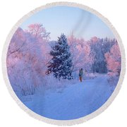 Sunlight Through The Frost Round Beach Towel