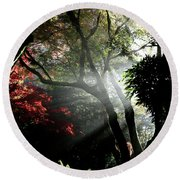 Sunlight Through The Tree In Misty Morning 1. Round Beach Towel