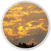 Sunlit Clouds Sunset Art Prints Gifts Orange Yellow Sunsets Baslee Troutman Round Beach Towel