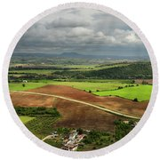 Sunlit Farms And Fields Below Arcos De La Frontera Andalusia Spa Round Beach Towel