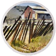 Sunlit Fence Round Beach Towel
