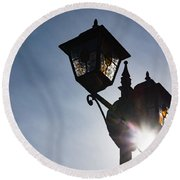 Sunlit Jewels - Stained Glass Lamps And Sunburst Right Round Beach Towel