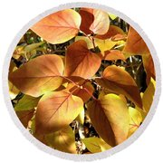 Sunlit Lilac Leaves Round Beach Towel
