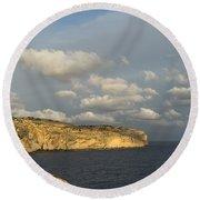 Sunlit Limestone Cliffs In Malta Round Beach Towel