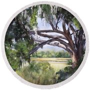 Sunlit Marsh Round Beach Towel