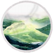 Sunlit Mountain Round Beach Towel