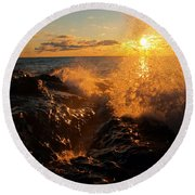 Sunlit Spray Round Beach Towel by James Peterson