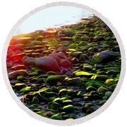 Sunlit Stones Round Beach Towel