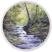 Sunlit Stream Round Beach Towel